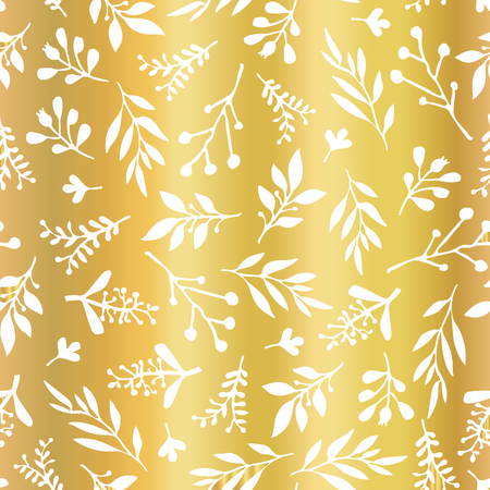 Gold foil leaves Seamless vector background. Simple abstract white leaf texture on golden backdrop, endless foliage pattern. Paper, pattern fill, web banner, party, cards, wedding, celebration, invite Illustration