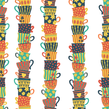 Seamless pattern piles of stacked colorful cups. Colorful background with tea mugs. Hand drawn vector illustration. For menu, cafe, restaurant, bar, poster, fabric, wrapping, banners, scrapbooking Vettoriali