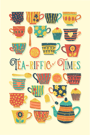 Tea-riffic Times hand drawn vector illustration with colorful tea cups, teapot, spoon, cupcake and funny quote. Distressed Retro vintage. Cute Tea time party invitation, card, scrap booking, fabric  イラスト・ベクター素材
