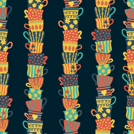 Piles of stacked colorful cups on dark background seamless pattern. Hand drawn vector illustration of tea mugs. For menu, cafe, restaurant, bar, poster, fabric, wrapping, banner, scrapbooking, kitchen