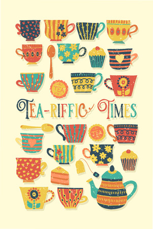 Tea-riffic Times hand drawn vector illustration with colorful tea cups, teapot, spoon, cupcake and funny quote. Distressed Retro vintage. Cute Tea time party invitation, card, scrap booking, fabric Stock Photo