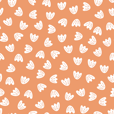 Seamless vector abstract flower petal pattern background. White floral elements on peachy orange. Simple pattern fill. Part of my Scandinavian collection. For web background, pattern fill, paper