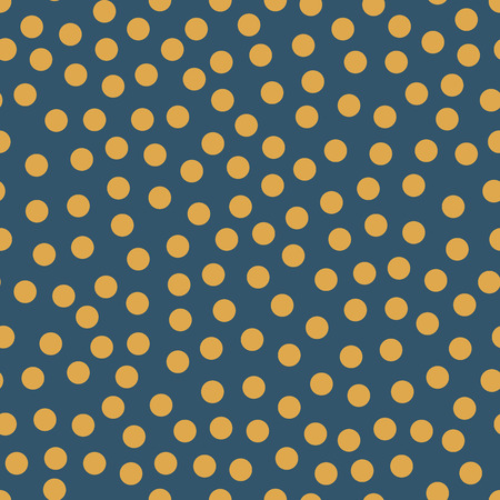 Seamless repeat vector orange dots on blue background. Randomly placed polka dots seasonal pattern. Great coordinate for autumn, fall, Thanksgiving, summer, web backgrounds, page fill, web banners