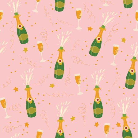 Champagne bottles and glasses vector seamless pattern on pink background. Hand drawn champagne explosion and champagne flutes. Coordinate for sip and see collection. Party invitation, holiday card
