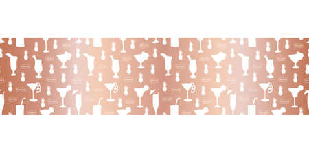 Rose gold foil cocktail glass seamless vector pattern border. Alcohol drinking glasses champagne flutes on metallic shiny copper background. For bar menu, summer party, celebration, wedding, birthday Stock Photo