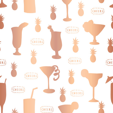 Copper rose gold foil cocktail glass seamless vector pattern. Shiny metallic alcohol drinking glass on white background with Cheers lettering and pineapple. For bar menu, decor, summer party, holiday Stock fotó