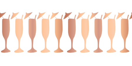 Rose gold copper foil champagne flutes seamless vector pattern border. Shiny metallic cocktail alcohol drinking glasses on white background. For bar menu, summer party, celebration, wedding, birthday