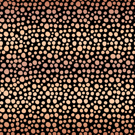 Copper foil dots seamless vector pattern background. Shiny metallic rose gold irregular circle shapes on black backdrop. For digital paper, banner, gift wrap, card, invitation, New Year, Christmas Stock fotó