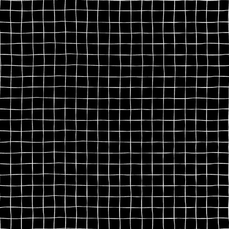Hand drawn grid seamless vector pattern background. White raster square shapes on black backdrop. Geometric monochrome art for digital paper, web banner, page fill, fabric, scrap booking, packaging Stock fotó