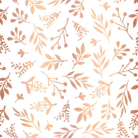 Copper foil florals seamless vector background. Rose gold abstract wildflower grass shapes on white background. Elegant holiday pattern - scrap booking, banner, packaging, wedding, party, invitation