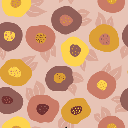 Autumn doodle flowers seamless vector repeat pattern. Yellow, orange, gold, and red abstract florals on pink background. Scandinavian style. Fall colors. Digital paper, fabric, scrap booking, banners Stock Photo
