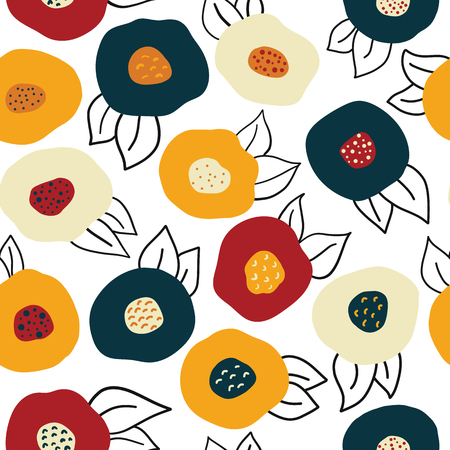 Vector seamless Autumn doodle flowers repeat pattern. Gold, red, and blue abstract florals on white background. Scandinavian style Fall colors. Digital paper, fabric, scrap booking, page fill, banner