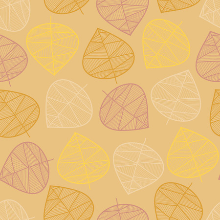 Scattered autumn leaves seamless vector background. Subtle abstract pattern. Repeating texture stylized fall leaf. Seasonal fall design for digital paper, scrap booking, fabric, cards, Thanksgiving 版權商用圖片