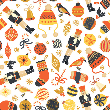 Seamless retro Christmas vector pattern background. Nutcracker, hat, mitten, stocking, candy cane, bird, ornaments. Repeating vintage Christmas design for fabric, gift wrap, greeting card, web banner