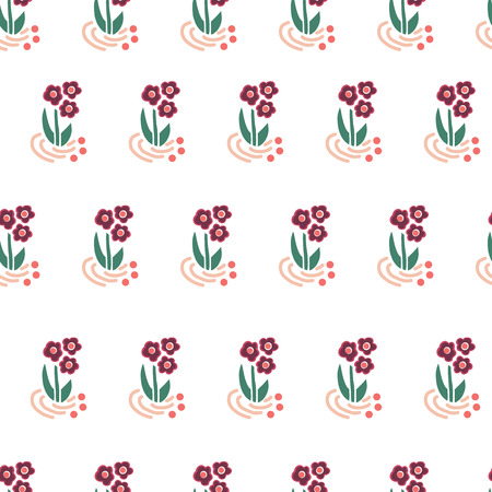 Folk flowers seamless vector repeating background. Scattered florals pattern. Small pink flowers on white. Scandinavian style. For fabric, girl, nursery, page fills, packaging, digital paper, card Illustration
