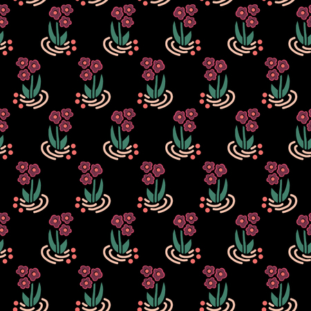 Folk flowers seamless vector repeating background pink on black. Scattered small florals pattern. For fabric, girl, nursery, page fills, packaging, digital paper, cards, Dirnd, Trachten stoff, Tracht Stock Photo