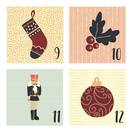 Advent calendar with hand drawn vector Christmas holiday illustrations for December 9th - 12th. Stocking, mistletoe, ornament, nutcracker. For poster, cards, blog, web banner, Christmas countdown Stock Photo