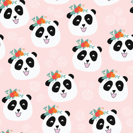 Panda bear with flowers seamless vector repeat pattern. Cute animal illustration on pink background for girls. For fabric, paper, kids room decor, wallpaper, back to school, nursery, baby shower, card Stock Photo