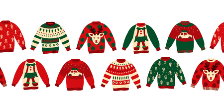 Ugly Christmas sweaters seamless vector border. Knitted winter jumpers with norwegian ornaments and decorations. Holiday design green, red, white for party invitation, banner, greeting cards, posters Stock Photo