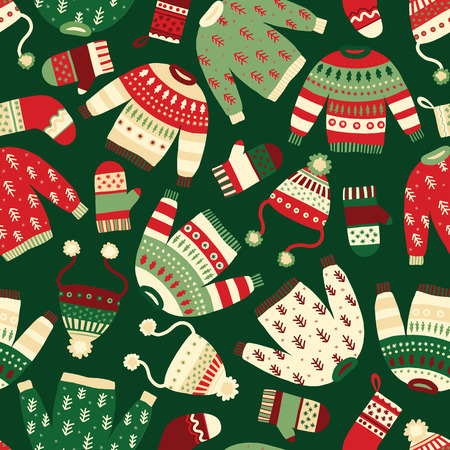 Winter clothes seamless vector pattern. Hand drawn cozy and warm mitten, glove, hat, sweater. Knitted wool accessories seamless Christmas background. Scandinavian Winter wear. Norwegian knit fashion.