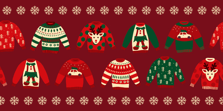Ugly Christmas sweaters seamless vector border. Knitted winter jumpers with norwegian ornaments and decorations. Holiday design green, red, white for party invitation, banner, greeting cards, posters Фото со стока - 111414812