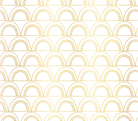 Vector abstract seamless gold foil geometric doodle background. Golden arches on lines on white. Fish scale, elegant, oriental, Art deco design. Celebration, invitations, Christmas, New Year, wedding Reklamní fotografie