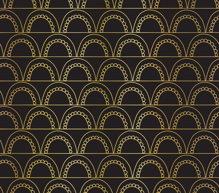 Vector abstract seamless gold foil geometric doodle background. Golden arcs on lines on black. Fish scale, elegant, oriental, Art deco design. Celebration, party invitation, Christmas, New Year, wrap