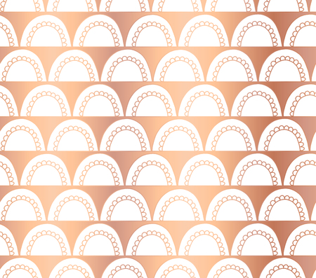 Copper foil Doodle arcs Vector abstract seamless geometric background. Rose gold arches on white. Shiny, elegant, oriental Art deco design. Party invitation, Christmas, New Year, celebration, wedding Reklamní fotografie