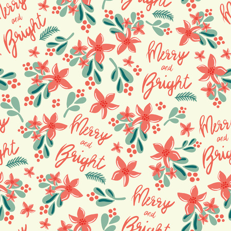 Christmas seamless vector pattern. Merry and Bright lettering, mistletoes, Christmas flowers on beige background. For gift wrap, packaging, web banner, greeting cards, poster, page fill, fabric, paper