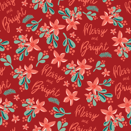 Christmas seamless vector pattern. Merry and Bright lettering, mistletoes, Christmas flowers on red background. For gift wrap, packaging, web banner, greeting cards, poster, page fill, fabric, paper