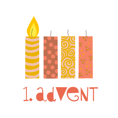First sunday in advent vector illustration. One burning advent candle. Erster Advent german text. Flat Holiday design with candles on white background. For greeting Holiday card, posters, Christmas Çizim