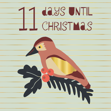 11 Days until Christmas vector illustration. Christmas countdown eleven days til Santa. Vintage Scandinavian style. Hand drawn bird. Holiday design set for poster, blog, banner, website, post, cards