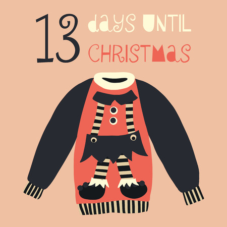 13 Days until Christmas vector illustration. Christmas countdown 13 days. Vintage Scandinavian style. Hand drawn ugly sweater. Holiday design set for card, poster, blog, banners, website, post