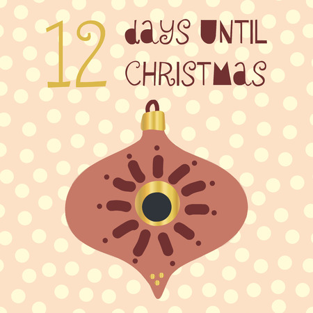 12 Days until Christmas vector illustration. Christmas countdown twelve days til Santa. Vintage Scandinavian style. Hand drawn ornament Holiday design set for poster, blog, banner, website, card, post