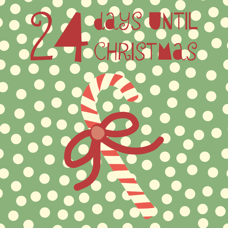 24 Days until Christmas vector illustration. Christmas countdown 24 days. Vintage Scandinavian style. Hand drawn candy cane. Holiday design set for card, poster, blog, banner, website, posts Ilustração