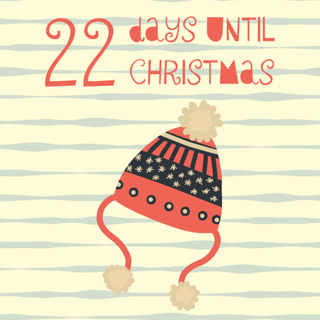 22 Days until Christmas vector illustration. Christmas countdown twenty-two days til Santa. Vintage Scandinavian style. Hand drawn knit hat. Holiday set for poster, blog, banner, website, post, card Banco de Imagens - 127635186