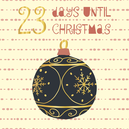 23 Days until Christmas vector illustration. Christmas countdown twenty-three days til Santa. Vintage Scandinavian style. Hand drawn ornament Holiday set for poster, blog, banner, website, post, cards Ilustração
