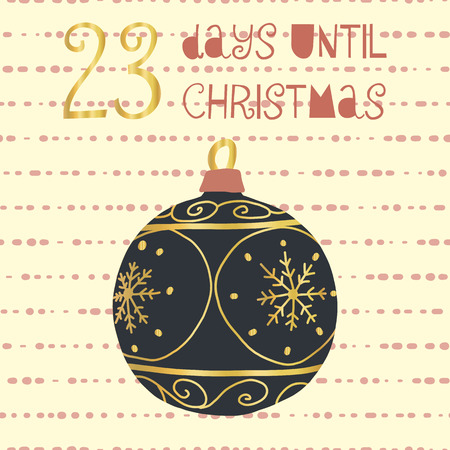23 Days until Christmas vector illustration. Christmas countdown twenty-three days til Santa. Vintage Scandinavian style. Hand drawn ornament Holiday set for poster, blog, banner, website, post, cards