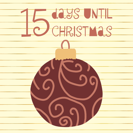 15 Days until Christmas vector illustration. Christmas countdown 15 days til Santa. Vintage Scandinavian style. Hand drawn ornament Holiday design set for poster, blog, banner, website, post, cards