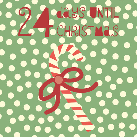 24 Days until Christmas vector illustration. Christmas countdown 24 days. Vintage Scandinavian style. Hand drawn candy cane. Holiday design set for card, poster, blog, banner, website, posts