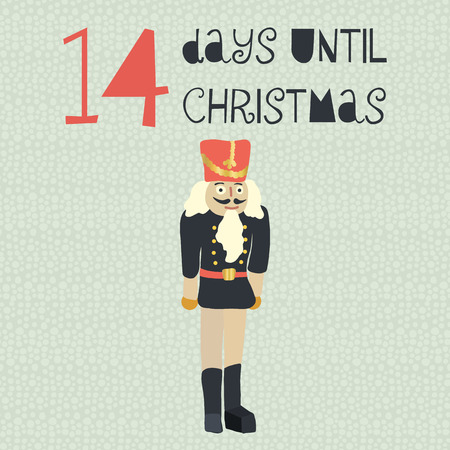 14 Days until Christmas vector illustration. Christmas countdown 14 days. Vintage Scandinavian style. Hand drawn nutcracker. Holiday design set for card, poster, blog, banner, website, posts