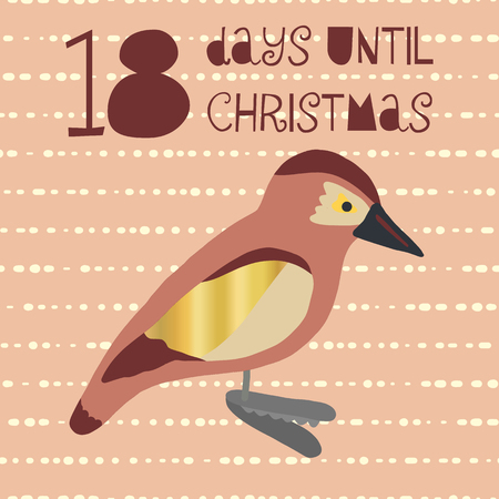 18 Days until Christmas vector illustration. Christmas countdown eighteen days til Santa. Vintage Scandinavian style. Hand drawn bird decor. Holiday set for poster, blog, banner, website, post, cards