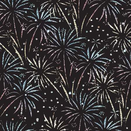 Firework seamless vector pattern. Glitter foil isolated. Metallic shiny fireworks on black background. Bright decoration Christmas card, Happy New Year celebration, anniversary, festival, party, July.