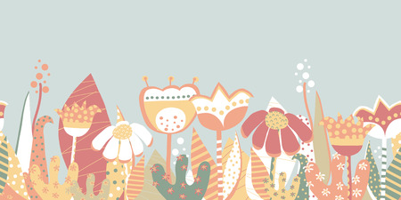 Seamless vector border spring flower meadow. Scandinavian style hand drawn flat flowers. Botanical summer illustration. Collage art florals for fabric, invitation, card design, dress, kids wallpaper. Stock Photo