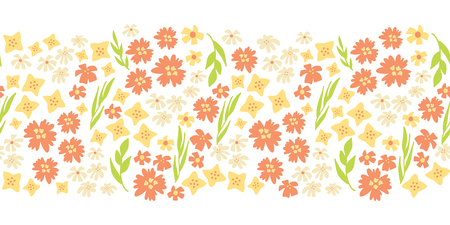 Sping flowers seamless vector repeat border. Hand drawn floral border green, yellow, pink. Scandinavian doodle flat ditsy flower. Use for spring, summer, easter, fabric, dress, wallpaper, card decor