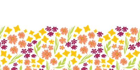 Floral seamless vector repeat border. Hand drawn summer flowers background green, yellow, pink. Scandinavian doodle flat ditsy flowers. Use for spring, summer, easter, fabric, dress, wallpaper, card