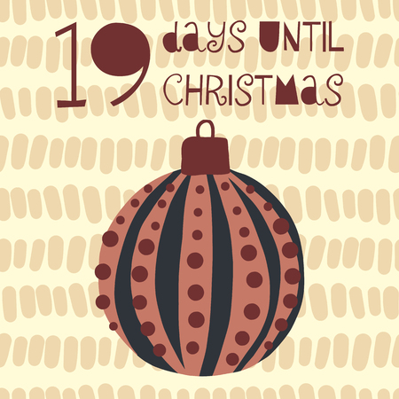 19 Days until Christmas vector illustration. Christmas countdown nineteen days til Santa. Vintage Scandinavian style. Hand drawn ornament Holiday set for poster, blog, banner, website, post, cards