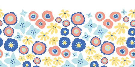 Floral seamless vector repeat border. Hand drawn summer flowers background pink, yellow, blue. Scandinavian doodle flat ditsy flowers. Great for spring, summer, easter, fabric, dress, wallpaper Vettoriali