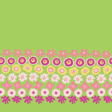 Sping flowers seamless vector repeat border. Hand drawn floral border coral yellow pink green. Scandinavian doodle flat ditsy flower. For spring, summer, easter, fabric, dress, wallpaper, card decor