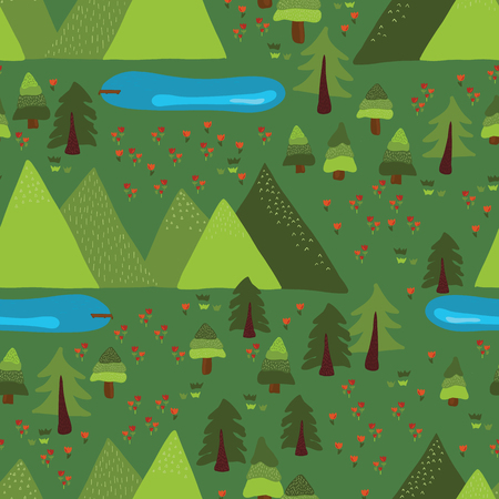 Trees, forest, lakes, meadow, mountains on green background. Mountain lake outdoor scene seamless vector pattern. Nature, national park, summer vacation, summer camp.  イラスト・ベクター素材